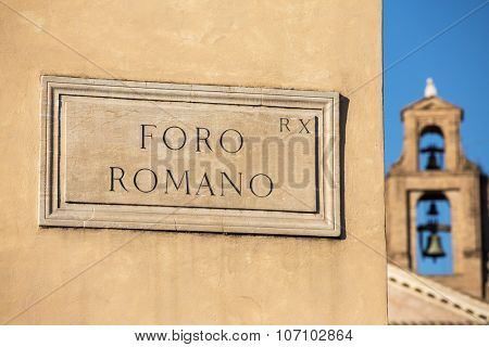 Foro Romano street sign, detail, Rome, Italy