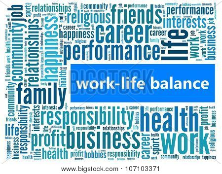 Work-life balance in word collage