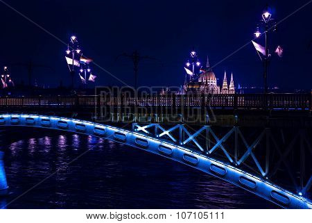 Margaret Bridge Over Danube River By Night, Budapest, Hungary