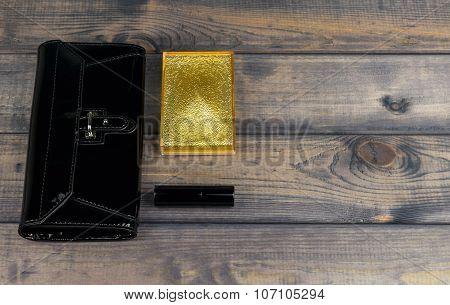 Purse-clutch Black, Powder Box With Mirror And Lipstick Golden L