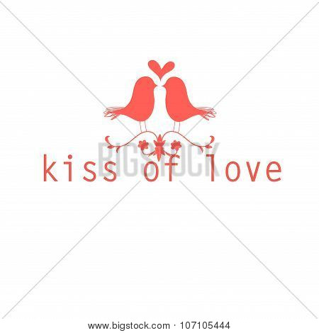 Red Love Birds Kissing