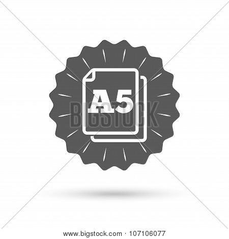 Paper size A5 standard icon. Document symbol.
