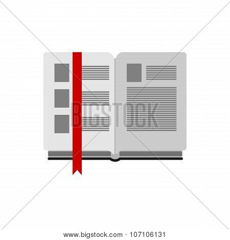 open book with bookmark on white background flat