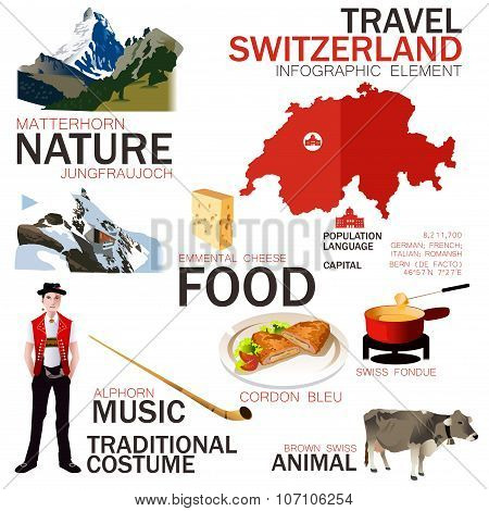Infographic Elements For Traveling To Switzerland