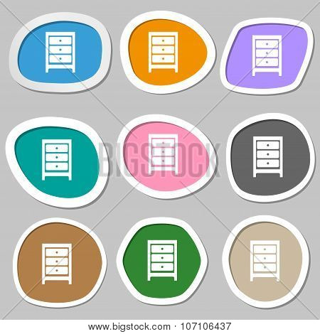 Nightstand Icon Sign. Multicolored Paper Stickers. Vector