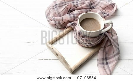 Coffee And Scarf Background