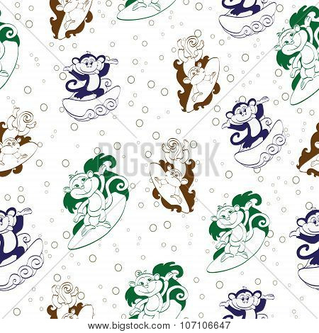 Vector Blue Green Brown Surfing Monkeys Seamless Pattern. Funnuy Jumping