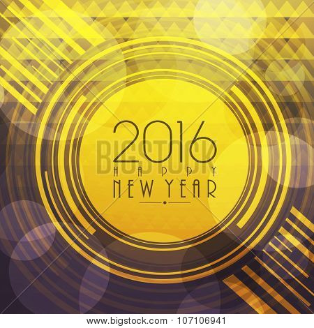 Elegant greeting card design for Happy New Year 2016 celebration.