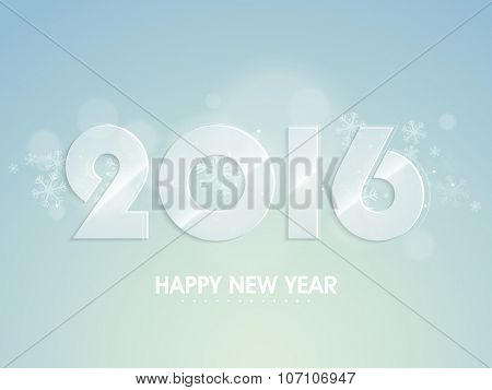 Stylish glossy text 2016 on shiny blue background for Happy New Year celebration.