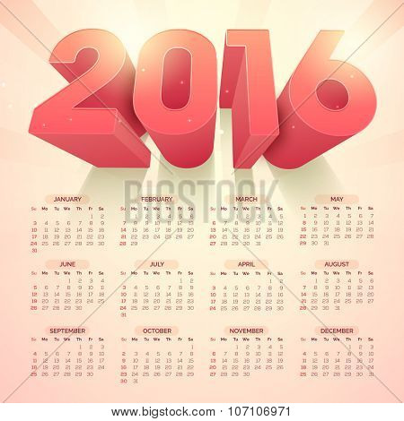 Creative Annual Calendar with stylish 3D text 2016 for Happy New Year celebration.