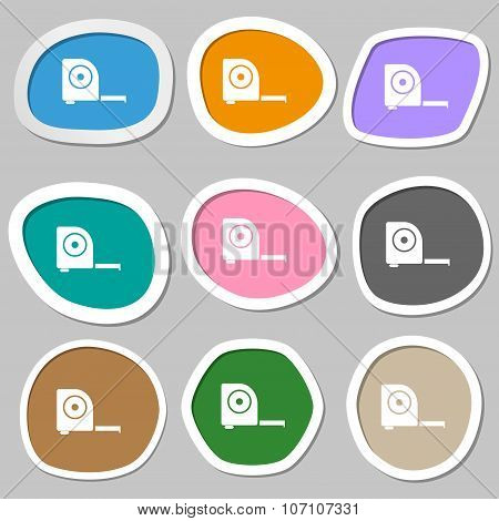 Roulette Construction Icon Sign. Multicolored Paper Stickers. Vector