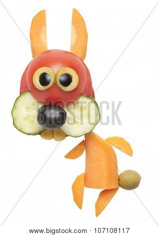 Funny Hare Made Of Carrot And Tomato