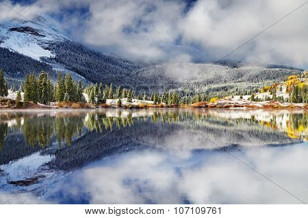 Mountain lake after the snow storm. Molas Lake, San Juan Mountains, Colorado, USA