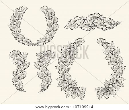 Set of hand drawn vector decorative elements for design.