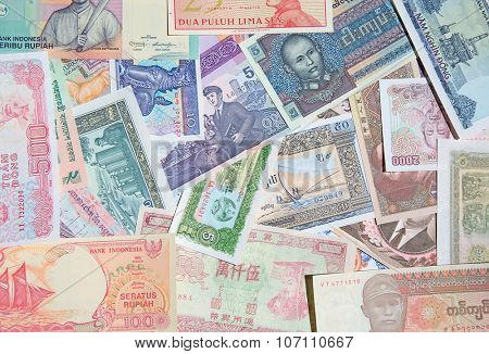 Variety of the Asian banknotes