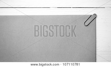 Brown Paper With Green Paper Clip Black And White Color