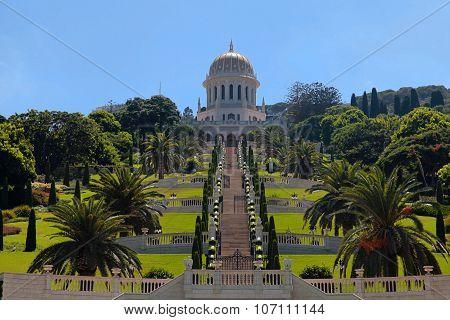 Beautiful Panoramic Landscape With Bahai Gardens In Haifa, Israel.