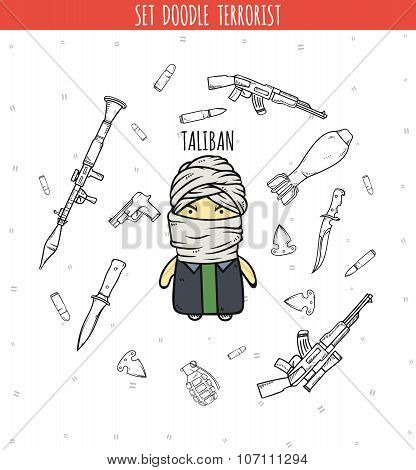 Taliban. Character of Talib group. Person handmade