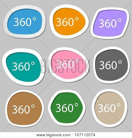 Angle 360 Degrees Sign Icon. Geometry Math Symbol. Full Rotation. Multicolored Paper Stickers. Vecto
