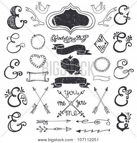 Hand drawing lettering ampersands kit. Wedding Decor