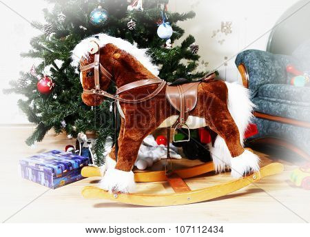 rocking horse with christmas tree