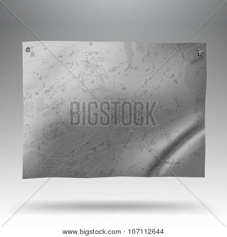 Metallic crumpled and spotted signboard. Tin-plate background. Vector illustration