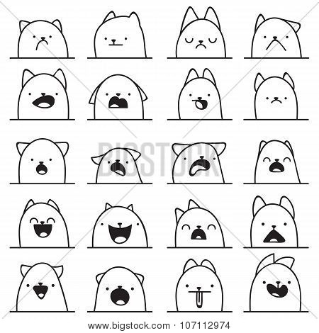 Set of 20 different emotions cat. Anime doodle design