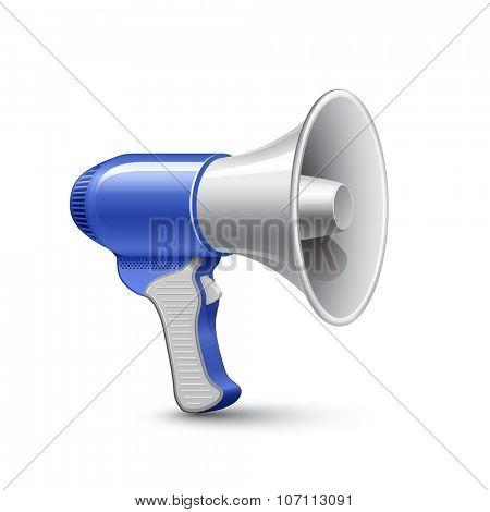 Megaphone. Highly detailed vector illustration of blue loudspeaker