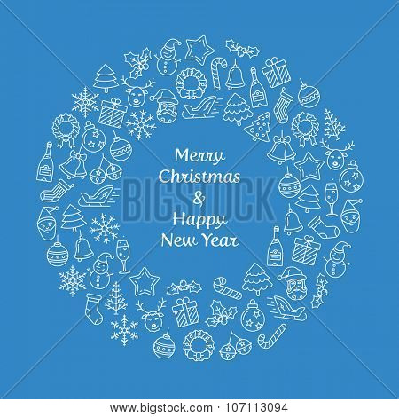 Merry Christmas and Happy New Year wreath greeting card. Christmas wreath with small Christmas symbols. Vector Illustration
