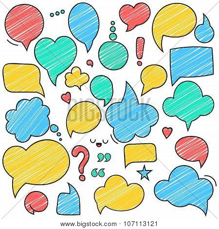 Vector retro colored speech bubbles. Empty bladder