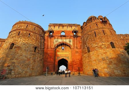 Delhi, India - November 6: Unidentified People Walk Through Bara Darwaza Of Purana Qila On November