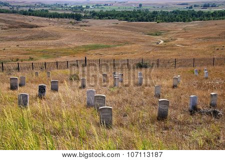 7Th Cavalry Marker Stones At Little Bighorn Battlefield National Monument, Montana, Usa