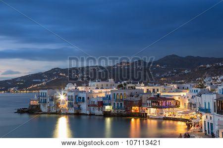 Little Venice of Mykonos town at blue hour, Greece