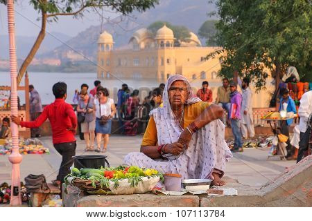 Jaipur, India - November 13: Unidentified Woman Sells Food By Man Sagar Lake On November 13, 2014 In
