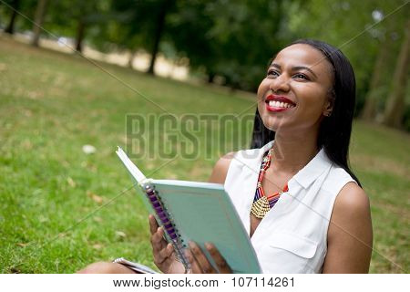 girl with a textbook