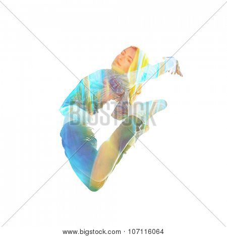 young woman in jump double exposure