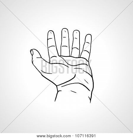 Open empty line art drawing hand