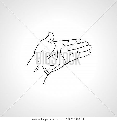 Open empty line art drawing hand, side view