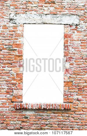 Old Window Closed With Bricks.