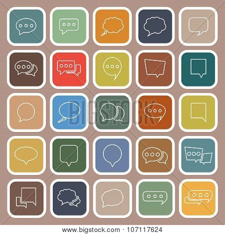 Speech Bubble Line Flat Icons On Brown Background