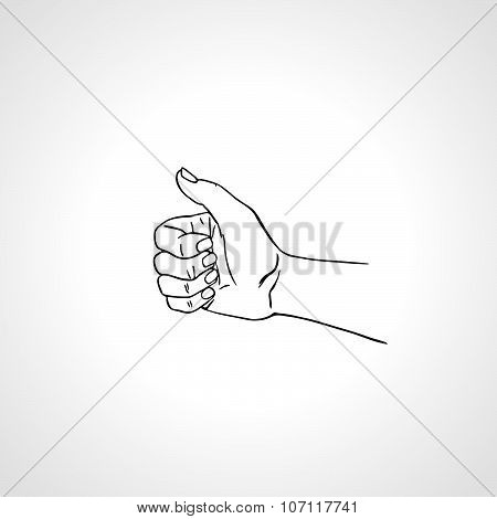 Hand With Thumb Up, Like Sign, Approval Gesture. Outline Vector