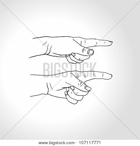 Silhouette Of Pointing Finger Hand