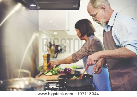 Couple Helping Cooking Preparation Concept