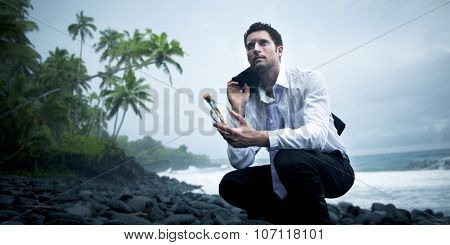 Businessman with Message in a Bottle Concept