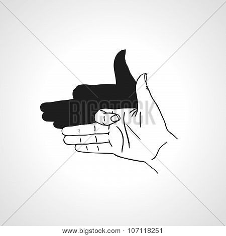 Hand gesture like dog face with shadow. Concept of make-believe danger.