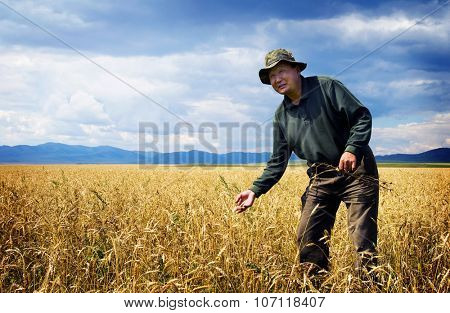 Man Walking the Meadow in a Beautiful Scenic View Concept