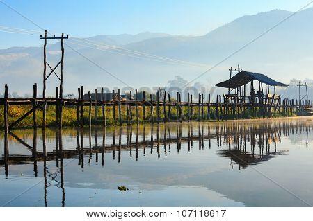 Maing Thauk Bridge, Inle Lake, Shan State, Myanmar.