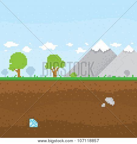 Pixel art mountain location vector illustration