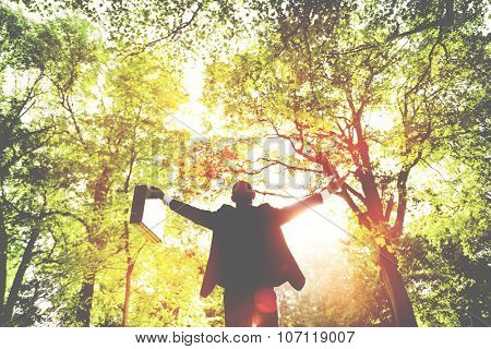 Business Man Arms Outstretched Forest Green Concept