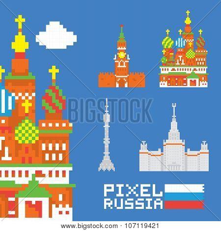 Pixel art isolated russia vector set